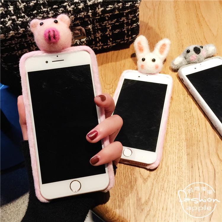 立体趴趴ag游戏直营网|平台iphone7小猪兔子考拉苹果6/6s plus手机壳毛绒保护套