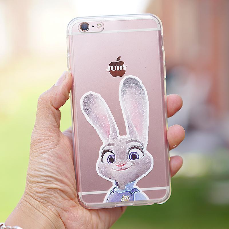 麦芽创意 疯狂动物城苹果6s手机壳iphone6 plus透明朱迪防摔软壳
