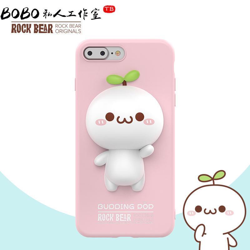 rock可爱长草颜团子7 plus立体卡通公仔手机壳iphone7